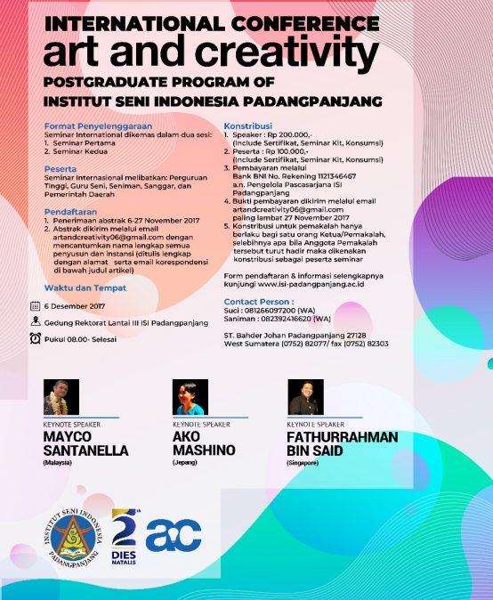 International Conference Art and Creativity PostGraduate Program of Institut Seni Indonesia Padangpanjang