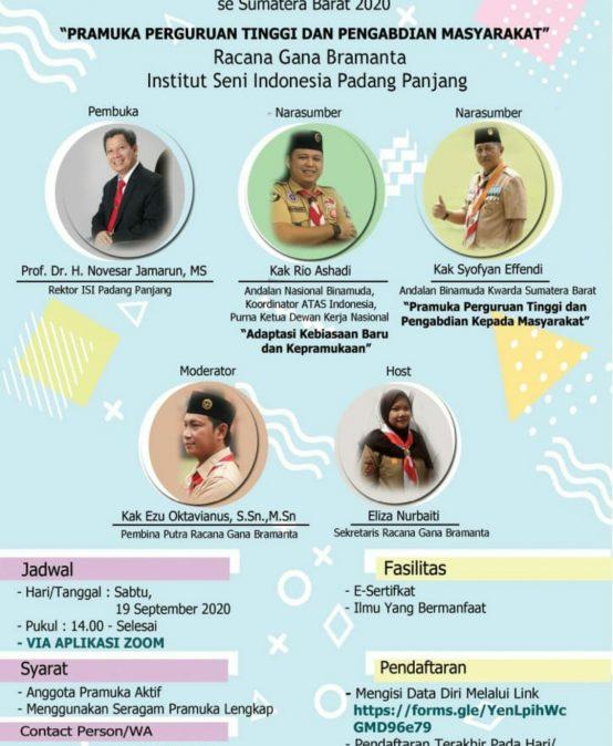 Webinar Pramuka Penegak dan Pandega se-Sumatera Barat 2020