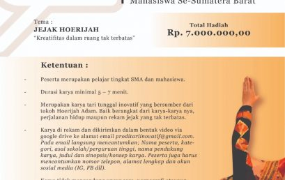 Lomba Karya Tari Tunggal Inovatif – Tingkat Pelajar SMA dan Mahasiswa Se-Sumatera Barat