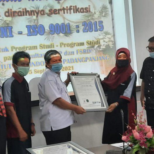 ISI Padang Panjang Raih ISO 9001 : 2015